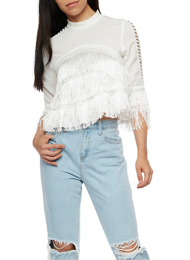 Long Sleeve 2 Tier Fringe Top,OFF WHITE,large