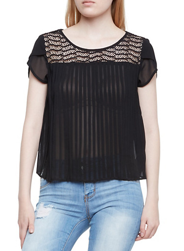 Pleated Short Sleeve Top with Crochet Paneling,BLACK,large