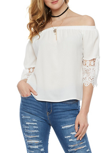 Off the Shoulder Crochet Sleeve Top with Choker,IVORY,large