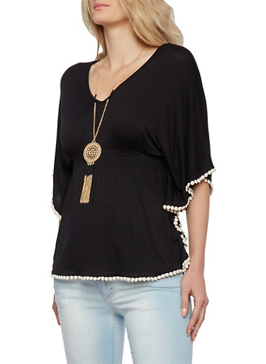 Batwing Sleeve Top with Pom Pom Trim and Necklace,BLACK,large