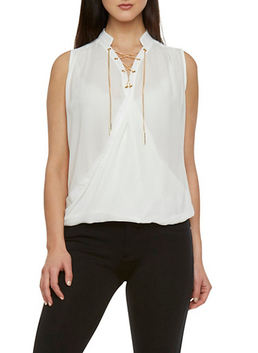Draped Top with Lace-Up Detail,WHITE,large