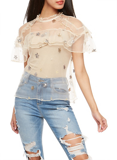 Sequin Embroidered Tulle Top,BEIGE,large