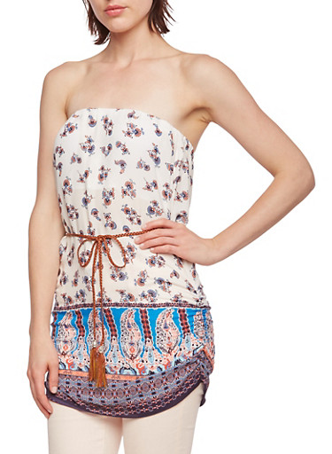 Strapless Paisley Top with Padded Bust and Removable Bust,IVORY/NAVY/PINK,large
