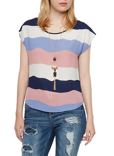 Striped Top with Necklace,NAVY/BLUSH,large