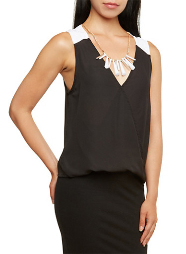 Semi-Sheer Chiffon Top with Removable Necklace,BLACK/WHITE,large