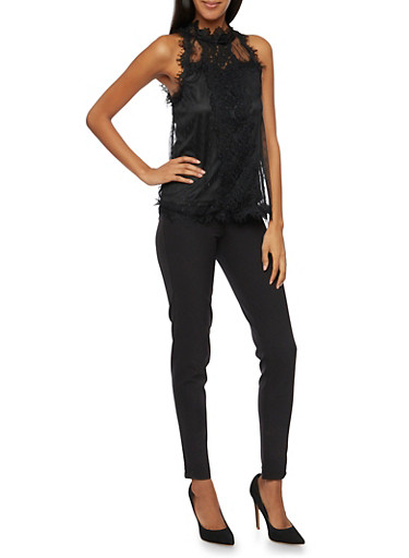 Sleeveless Top with Lace and Crochet Overlay,BLACK,large