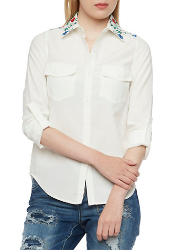 Button-Up Top with Floral Embroidery,WHITE,large