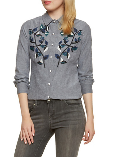 Embroidered Flower Top with Button Front,BLACK,large