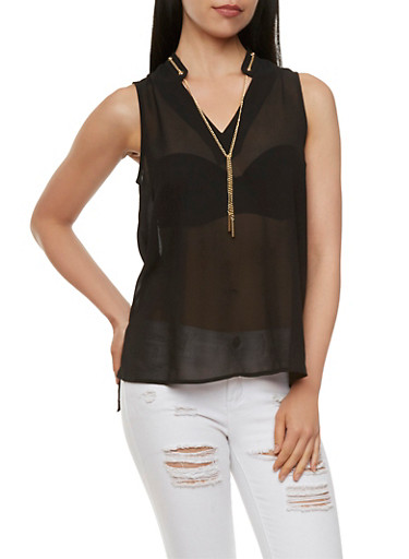 Sleeveless Mandarin Collar Top with Chain Tie,BLACK,large