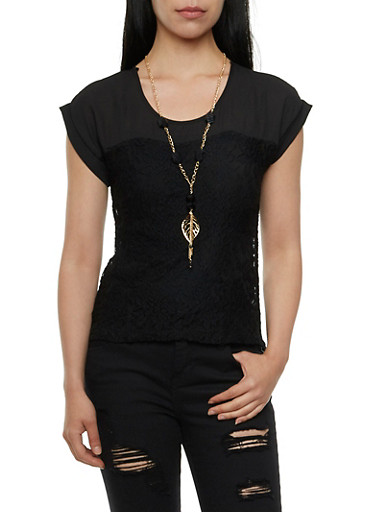 Lace-Detail Top with Necklace and Back Buttons,BLACK,large