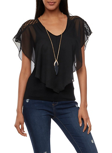 Overlay Top with Lace Panels,BLACK,large