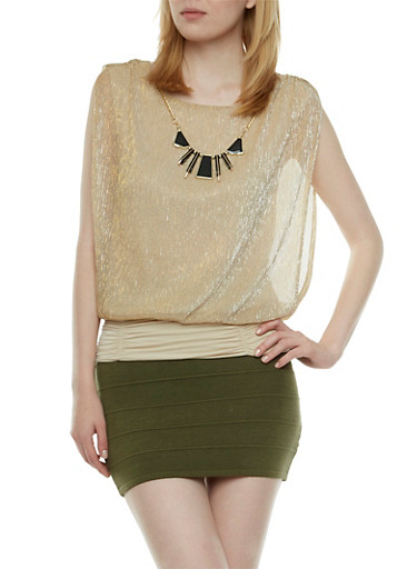 Metallic Top with Removable Necklace,GLD/IVY,large