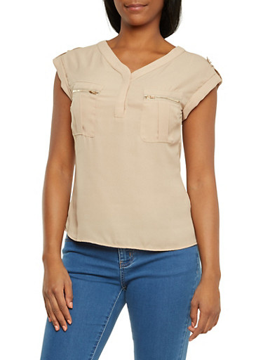 Semi-Sheer Chiffon Top with Zip Bust Pockets,KHAKI,large