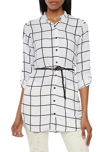 Printed Tunic Top with Braided Belt,WHT-BLK,large