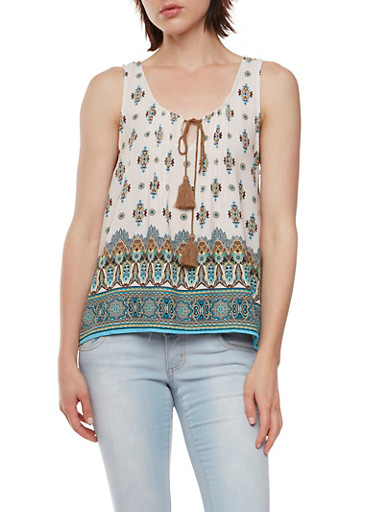 Paisley Print Tank Top with Drawstring Cinch at Scoop Neck,IVORY COMBO,large