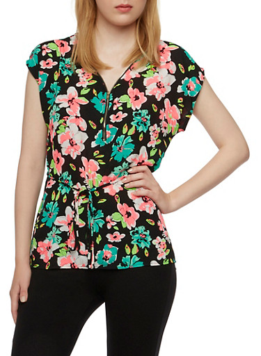 Floral Print Chiffon Top with Zip-Up V-Neck,BLACK,large
