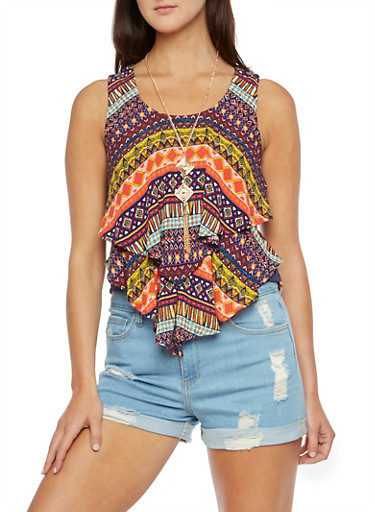 Tiered Dashiki Print Top with Removable Necklace,MULTI COLOR,large