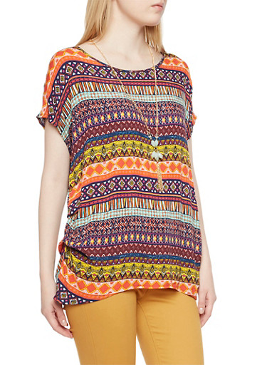Printed Top with Necklace and Ruched Hem,MULTI COLOR,large