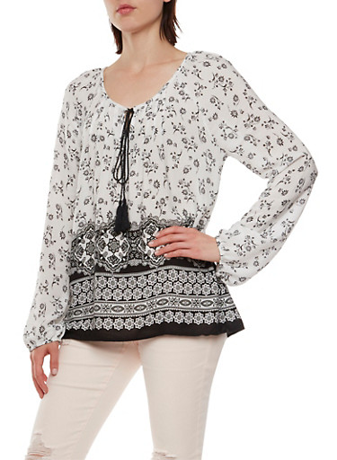 Oversize Top in Paislet Print with Scoop Neck,BLACK/WHITE,large