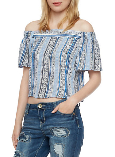 Off-the-Shoulder Top with Ornate Printed Stripes,NAVY,large