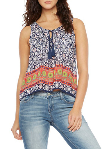 Printed Tank Top with Tassel Neckline,NAVY/CORAL,large