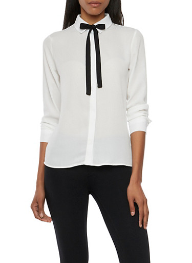 Button Up Shirt with Removable Tie,IVORY/BLK,large