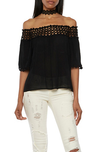 Off the Shoulder Top with Crochet Trim,BLACK,large