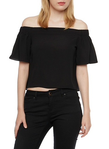 Crepe Off the Shoulder Top,BLACK,large