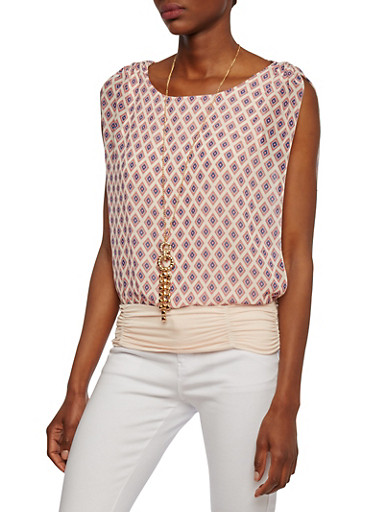 Layered Top with Geometric Print and Removable Necklace,WHITE/FUSCHIA,large