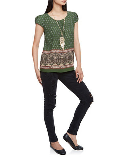 Printed Top with Petal Sleeves and Necklace,OLIVE COMBO,large
