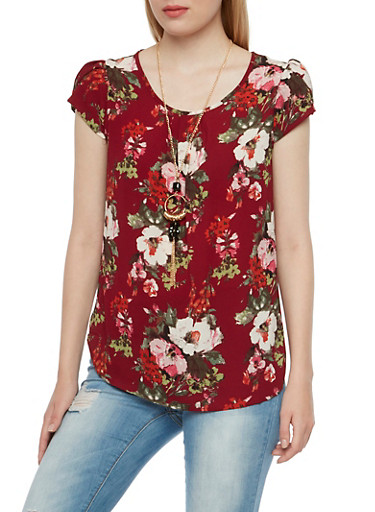 Crepe Top in Floral Print and Removable Necklace,BURGUNDY GROUND,large