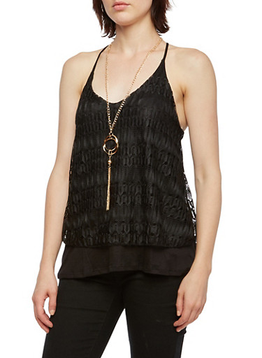 Layered Lace Racerback Tank Top with Necklace,BLACK,large