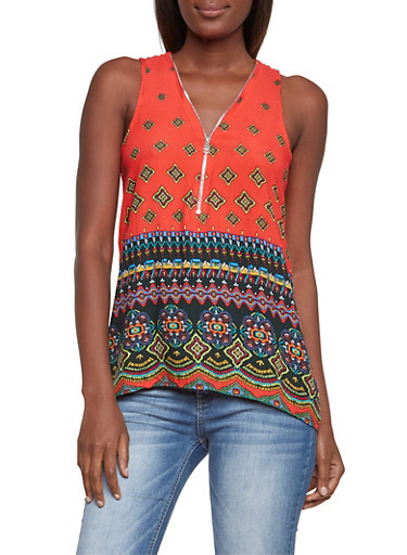 Sleeveless Dashiki Print Top with Zippered V-Neck,BLACK/RED,large