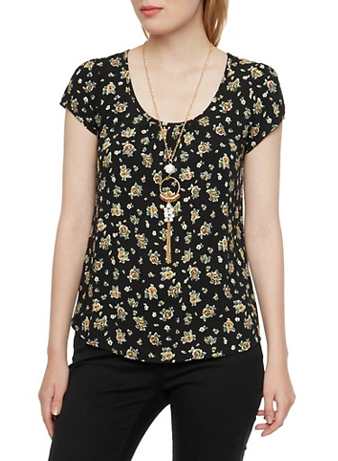 Floral Print Top with Beaded Necklace,BLACK,large