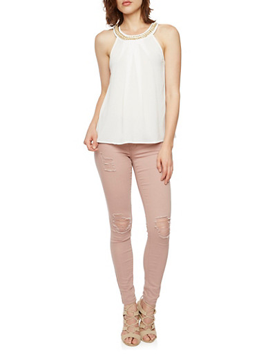 Sleeveless Top with Crystal Chain Scoop Neck,WHITE,large