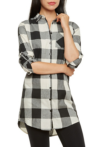 Check Button-Up Top with Button-Cuff Sleeves,BLACK/WHITE,large