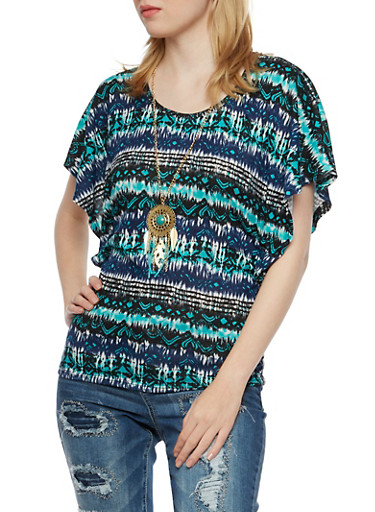Abstract Print Top with Removable Necklace,NAVY/MINT,large