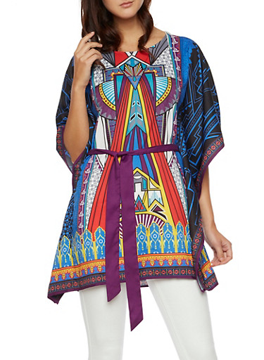 Dashiki Print Belted Tunic Top with Kimono Sleeves,TEAL,large