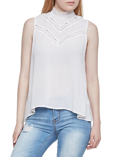 Sleeveless Top with Lace Trim,OFF WHITE,large