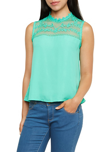 Tank Top with Lace Yoke,MINT,large