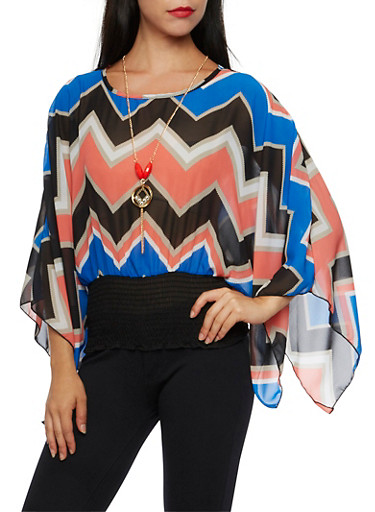 Printed Kimono Top with Necklace,BLK/ROYAL,large