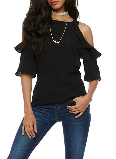 Cold Shoulder Flair Top with Choker Necklace,BLACK,large