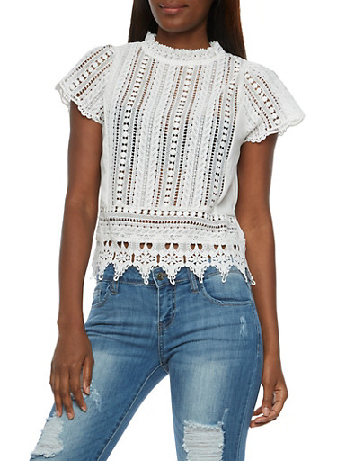 Crocheted Mock Neck Top,OFF WHITE,large