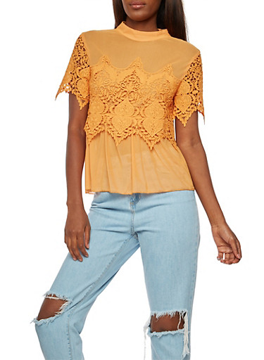 Mesh Crochet Mock Neck Top,MUSTARD,large