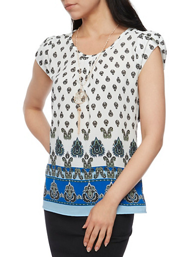 Border Print Top with Necklace,RYL BLUE,large
