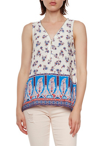 Trapeze Top in Paisley Print,IVORY/NAVY/PINK,large