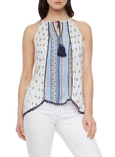Tassel Tie Split Neck Tank Top with Boho Print,IVORY/BLUE,large