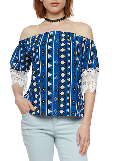Off the Shoulder Printed Top with Choker,RYL BLUE,large