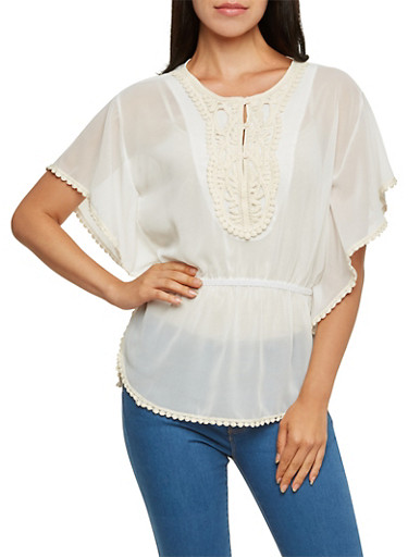 Crochet-Trimmed Top,IVORY,large