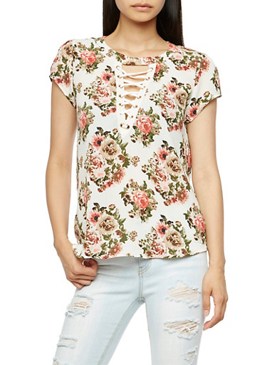Floral Crepe Knit Lace Up Top,IVORY,large